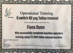 fiona laser certificates